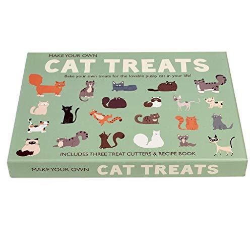 Rex London Katzen Leckerlis zum Selbermachen mit Rezeptbuch, 3 Ausstechformen und Baumwollbeutel (Ökobeutel) zum selbst backen
