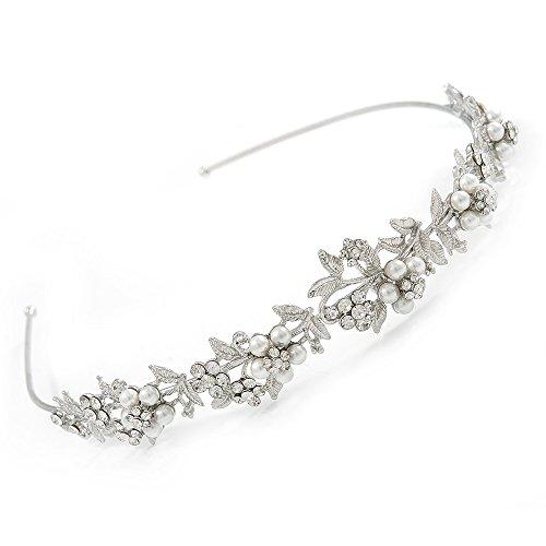 Tiara/Diadema de Novia/Boda/baile chapado en rodio perlas de cristal blanco, flores y hojas.