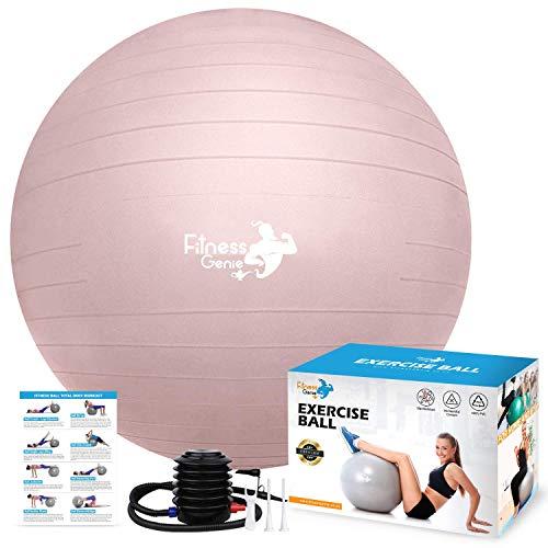 Fitness-Ball mit Luft-Fußpumpe, 55 cm, Balance-Übung, Workout, Anti-Burst, robust, Schweizer Stabilität, Geburt, Pilates, Core Fit Training, Yoga, Gymnastikbälle | Heimtrainer