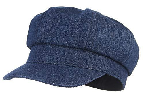 GEMVIE-Boinas para Mujer Sombrero Vaquero de Vendedor de Periódicode con Visera Clálido Azul para Primavera Verano Otoño Invierno (Azul Oscuro)