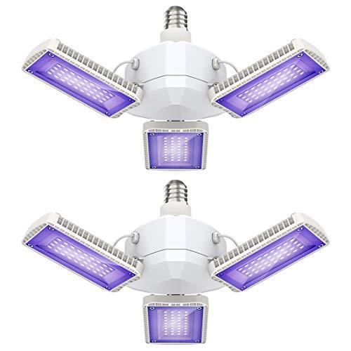 Onforu 2er 45W LED Schwarzlicht, UV Strahler mit 3 Verstellbare Panels, E27 Ultraviolett Schwarzlichtlampe, 144 LEDs Blacklight Flutlicht, UV Fluter für Neonfarbe, Halloween, Weihnachten, Party Deko
