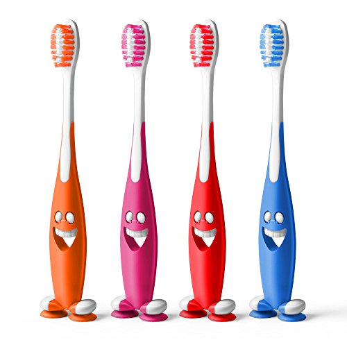 aquawhite® Junior Smiley Kids Toothbrush, Soft Bristles, Pack of 4.(Colour may vary)