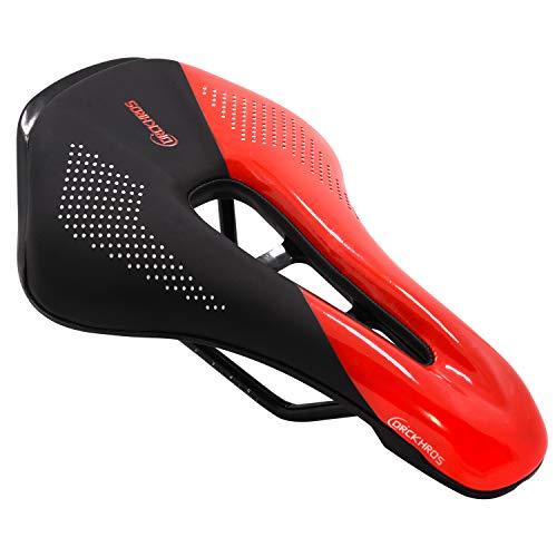 Acekit Comfortable Bike Seat Ergonomics Design Breathable Suspension Gel Bike Saddle Cushion for Mountain Bike Road Bike-Red