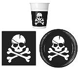 JT-Lizenzen Party-Geschirr Set Piraten Totenkopf Kinder-Geburtstag - Teller Becher Servietten (16...