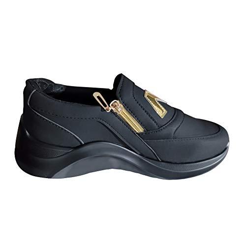Zapatos planos de suela gruesa con cremallera para mujer,Zapatos deportivos cómodos y transpirables,Zapatillas clásicas con cremallera baja y punta redonda con suela plana vulcanizada,talla 42 2/3 EU