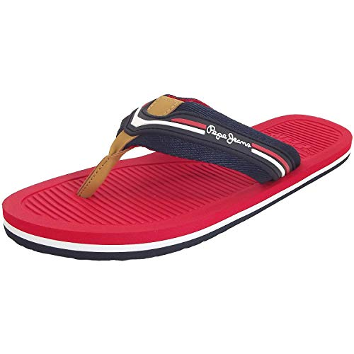 Pepe Jeans Off Beach Basic, Tongs Homme, Bleu foncéRouge (Navy), 42