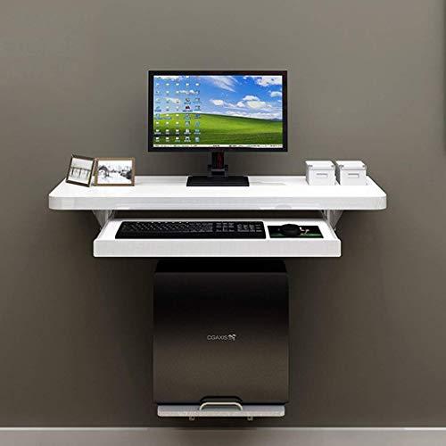WZF Mesa Plegable Escritorio de computadora Flotante de Pared Mesa de Estudio Escritorio Escritorio portátil portátil con Marco Principal y Bandeja de Teclado Ajustable (Tamaño: 80 cm)