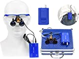 Ocean Aquarius Blue 2.5X420MM Surgical Binocular Loupes Magnifier +5W Portable LED Headlig...