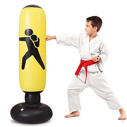 TUOWEI Inflatable Punching Bag 63Inch Kids Punching Bag with Stand Bounce Back, Boxing Bag for Kids and Adults