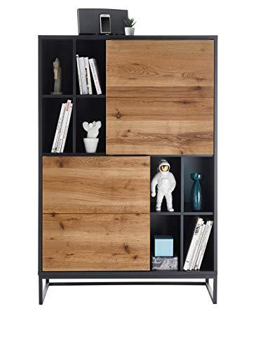 Robas Lund Highboard Grau Anthrazit mit Massivholzfronten, Wohnzimmerschrank, BxHxT 100x148x40 cm