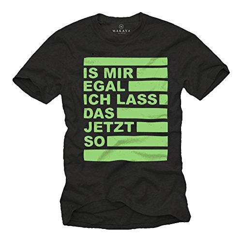 MAKAYA Camiseta con Mensaje Aleman - No me Importa, voy a Dejar lo así - Hombre Negro/Verde L