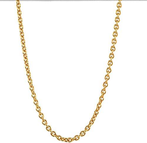 1,1 mm 40 cm 750-18 Karat Gelbgold Ankerkette rund massiv Gold hochwertige Halskette 2,3 g