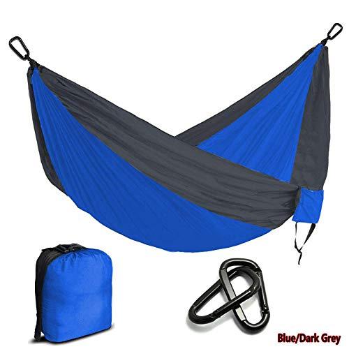 APQMR Double Hammock Multi-Color Nylon Parachute Hammock Camping Survival Garden Hunting Leisure Travel Double Person-Blue_And_Dark_Grey