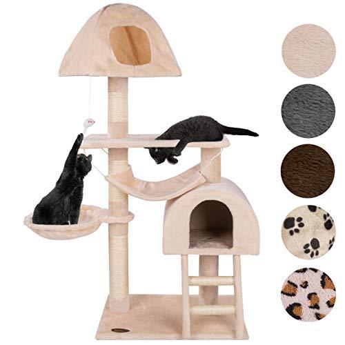 Happypet® Kratzbaum für Katzen mittelgroß CAT018-4 130 cm hoch, Kletterbaum Katzenbaum, stabile Säulen mit Sisal ca. 8 cm, Liegemulde, Haus, Höhle, Treppe, Hängematte, Spielmaus, BEIGE