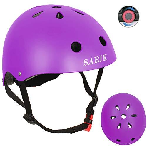 Sarik Kids Bike Helmet Adjustable Toddler Helmet Child 3-8 Years Boys Girls CPSC Certified Multi-Sports Bicycle Cycling BMX Inline Skating Rollerblading Scooter Skateboard Helmets for Kids (Purple)