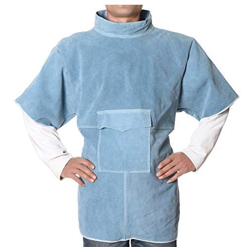 UOBEKETO Leather Welding Work Apron Jacket Short-sleeve High-neck Welding Protective Clothing Flame-Resistant Welding Anti-wear Overalls