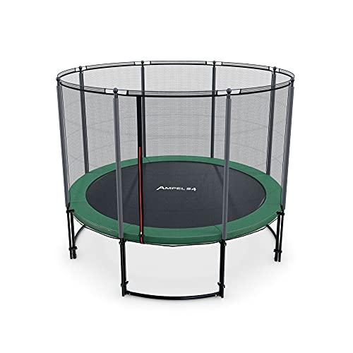 Ampel 24 - Trampoline de Jardin Deluxe Ø 3,05m Complet avec Filet de sécurité, Toile de Saut/résistant jusqu'à 150 kg / 8 piquets