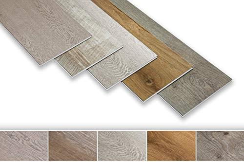 SPC XXL Vinylboden mit Trittschalldämmung - 2.82QM ökologischer Designboden mit I4F Klick, 23x155cm rutsch- und wasserfest, schwer entflammbar - Holzoptik Ockerbraun PS27