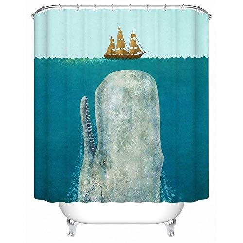 WZYMNYL Wal rammte das Boot Wasserdichte Duschvorhang Bad Vorhang umweltfre&liche Bad Produkte Duschvorhänge,120 x 180 cm