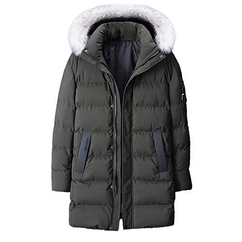 MODOQO Men's Long Down Coat Plus Size Zipper Hoodies Jacket Winter Thick Overcoat(Green,6XL)