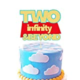 Two Infinity and Beyond Cake topper Lightyear Toy Story 2nd Birthday Party Supplies Decorations Photo Prop for Girl Boy Baby Bday