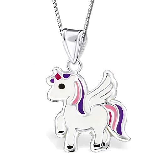 Kinder Kette mit Anhänger echt 925 Sterling Silber Mädchen Halskette Einhorn Pferde Pegasus K242+40cm