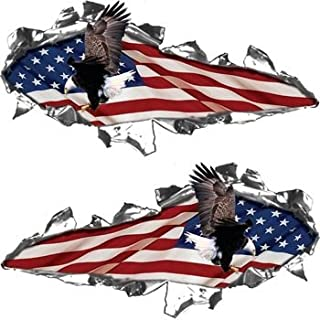 Ripped / Torn Metal Look Decals American Flag with Flying Eagle - 6