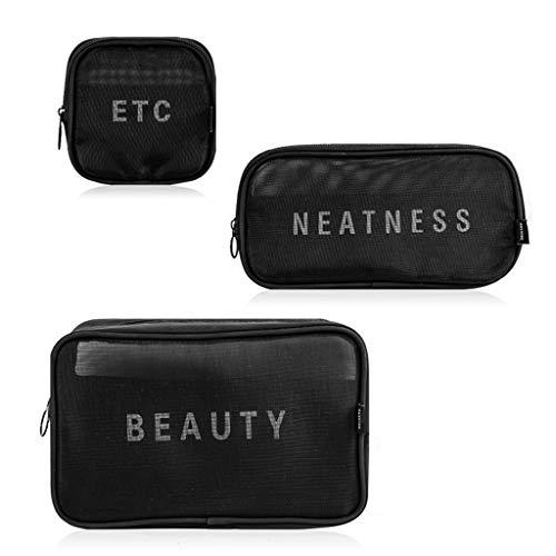 QVIVI Bolsa De Cosméticos De 3 Uds Bolsas De Aseo, Neceser Maquillaje De Malla Portátil Negro, para El Hogar Oficina Almacenamiento De Viaje Cosméticos Barras De Labios