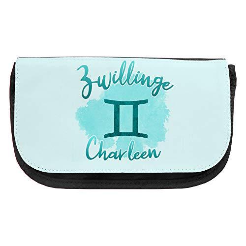 Kosmetiktasche mit Namen Charleen und Sternzeichen-Motiv Zwilling | Schminktasche | Viele Vornamen zur Auswahl