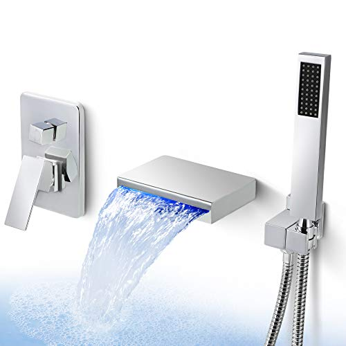 Bathroom Shower Faucet Set Wall Mount Bathtub Faucet with Handheld Shower LED Bathroom Faucet Waterfall Bathtub Faucet, Dr Faucet Polished Chrome