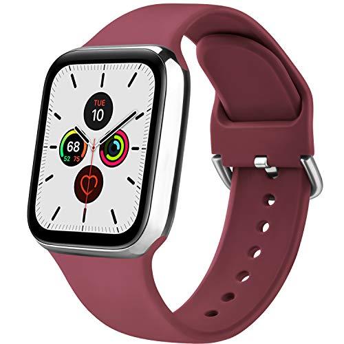 Senka Silicona Correa Compatible con Apple Watch 38mm 42mm 40mm 44mm, Pulseras de Repuesto Silicona Suave Deportiva para iWatch Series 6 5 4 3 2 1,Hombre y Mujer(Vino Rojo,38mm/40mm S/M)