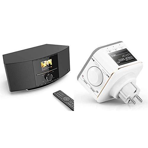 Hama Internetradio mit CD-Player & DAB+ WLAN-Radio & Steckdosen Internetradio klein WLAN Plug in Radio (Bluetooth/AUX/USB/Spotify/Multiroom/Netzwerkstreaming, integr. Radio-Wecker)