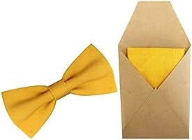 Papillon giallo e Fazzoletto Taschino Uomo (11cm x 6cm, 15cm x 15cm) linea estate 2020