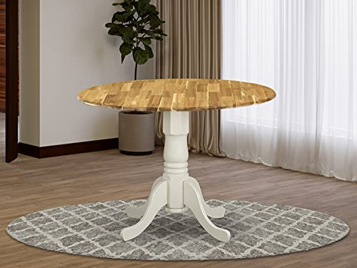 East West Furniture DMT-NLW-TP Dublin Dining Table Made of Acacia offering Wood Texture with Two 9 Inch Drop Leaves, 42 Inch Round, Linen White Pedestal