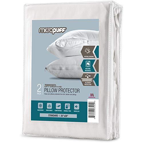 Micropuff - Fundas de almohada con cremallera estándar de microfibra cepillada suave, fundas de almohada hipoalergénicas e ruidas con...
