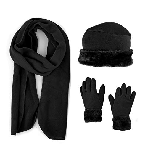 3 Pieces Set Matching Hat, Gloves and Scarf for Woman. Solid Colors - Black