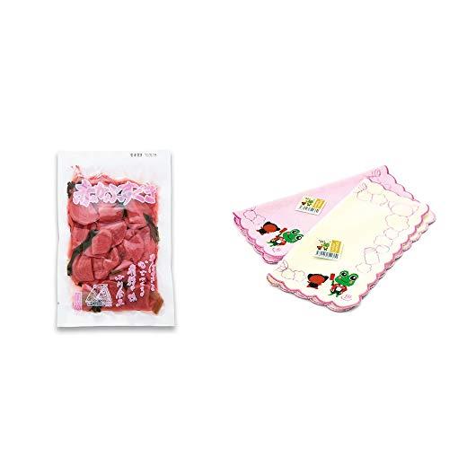 [2点セット] 赤かぶすぐき(160g)・下呂温泉限定 さるぼぼ&げろぐるくん ふわふわタオルハンカチ【クリーム】