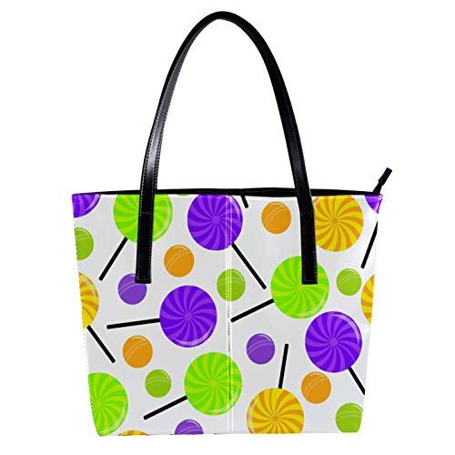 LORVIES Bonbon Lutscher, Umhängetasche, PU-Leder, Handtasche, Handtasche für Damen