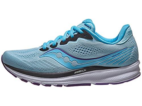 Saucony Women's Ride 14 Running Shoe - Color: Powder/Concord - Size: 7.5 - Width: Regular
