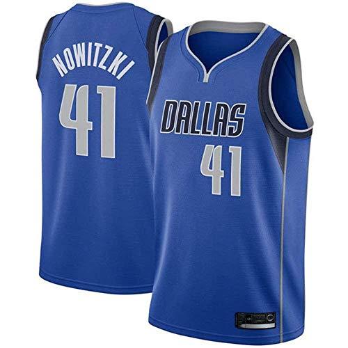 FUYY Herren-Trikot - NBA Dallas Mavericks 41# Nowitzki Besticktes Mesh-Basketball-Swingman-Trikot Sportswear, Ärmelloses Unisex-T-Shirt Retro Gym Vest Sports Top,Blue-S