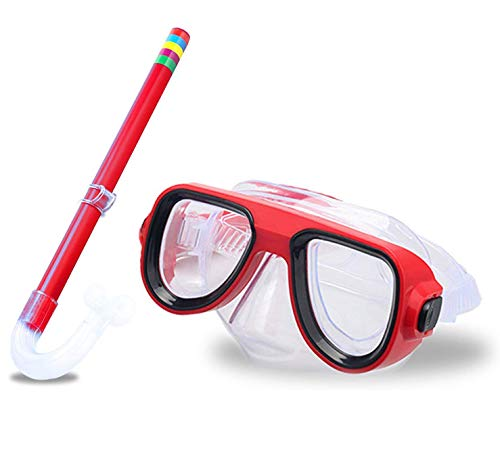 Kids Snorkel Set Junior Snorkeling Gear Kids Silicone Scuba Diving Snorkeling Glasses Set Snorkel Equipment for Boys and Girls Age from 4-8 Years Old (Red)