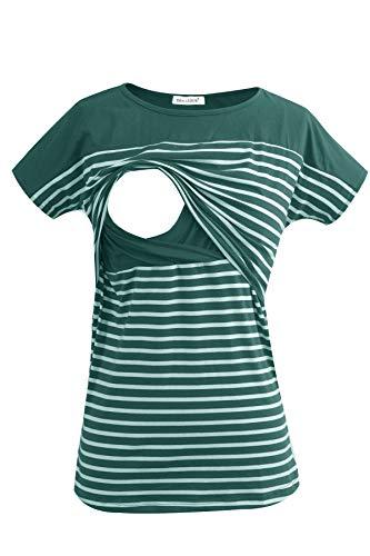Smallshow Stillshirt Kurzarm Umstands Tshirt Umstandstop Umstandsmode Stilltop Baumwolle Schwangerschaft Streifen Shirt, Dunkelgrün, S