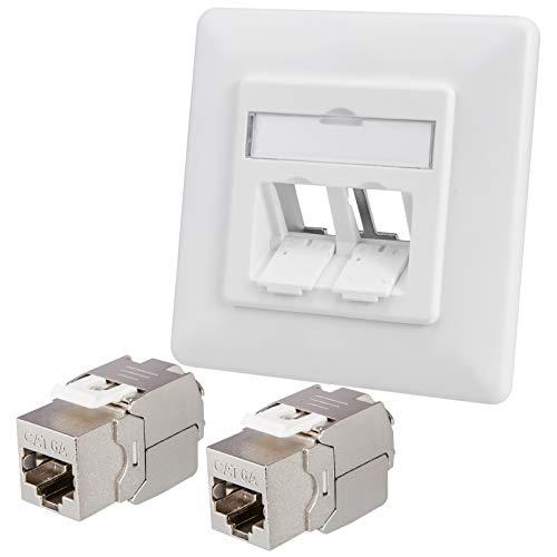 HB-DIGITAL Set: 1x Netzwerkdose für Keystone Anschluss LAN Unterputz weiß + 2X Cat. 6a Keystone Jack Modul RJ45 Einbaubuchse Ethernet frontal    Netzwerk Dose Verlegekabel vollgeschirmt