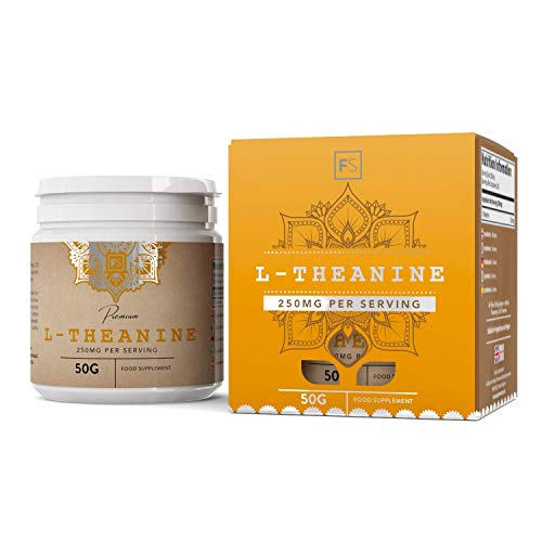 FS Simply L Theanine Powder 50g | Nootropic Supplement | Just L-Theanine with No Additives or fillers | Non GMO, Gluten & Dairy Free | Made in The UK in ISO Licensed Facilities