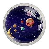 Pomos de gabinete de cocina con sistema solar Galaxy para gabinetes de cocina, tiradores de cajones de 1,18 pulgadas, paquete de 4