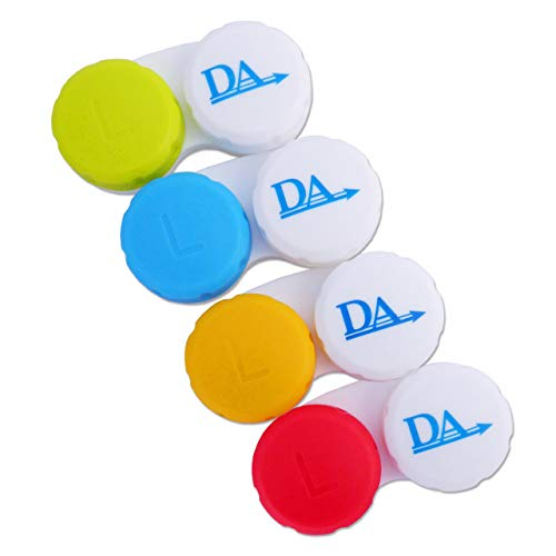 4 x Kontaktlinsenbehälter ~ Links und Rechts Farbcodierte Aufbewahrungsbehälter (Mehfarbig)