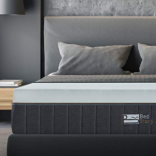 Queen Mattress, BedStory 12 inch Gel Memory Foam Mattress Bamboo Charcoal Infused Foam, Premium Bed Mattress with Breathable Soft Cover-Medium Firm- in a Box for Sleep Supportive & Pressure Relief