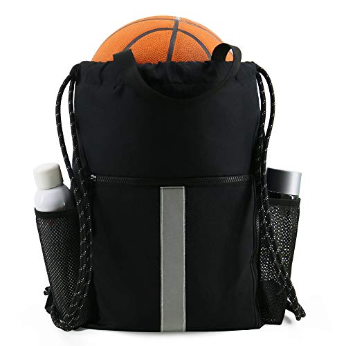 Drawstring Backpack Sports Gym Bag With Shoe Compartment and Two Water Bottle Holder - Black - 16' x 19.5'