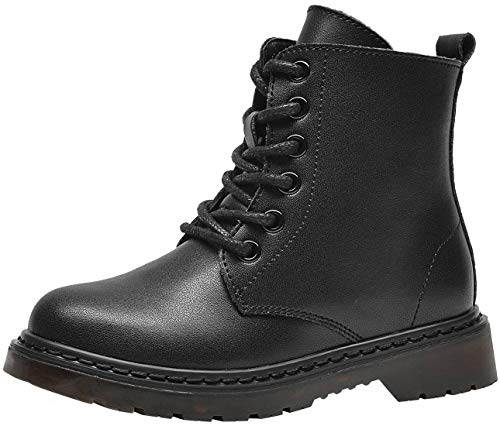 PPXID Boys Girls Leather Hiking Boots Lace-Up and Side Zip Short Combat Boots Snow Boots-Black 3.5 US Size