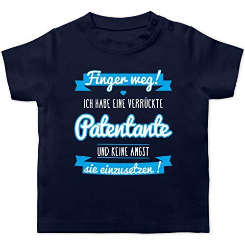 Sprüche Baby - Ich Habe eine verrückte Patentante blau - 12/18 Monate - Navy Blau - Tshirt Patentante Navy blau - BZ02 - Baby T-Shirt Kurzarm